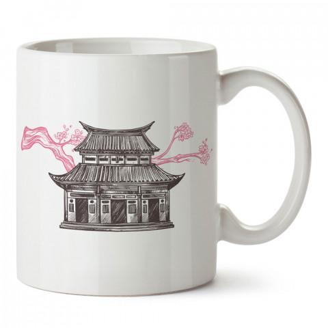 Nostaljik Japon Evi tasarım baskılı kupa bardak (mug bardak). Ülke ve şehir temalı hediye çeşitleri. Japonya desenli hediyelik kahve kupası. Turizm ve tatil hediyeleri.