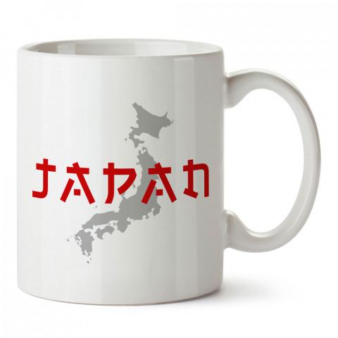 Tipografik Japonya Ve Harita tasarım kupa bardak (mug bardak). Ülke ve şehir temalı hediye çeşitleri. Japonya desenli hediyelik kahve kupası. Turizm ve tatil hediyeleri.