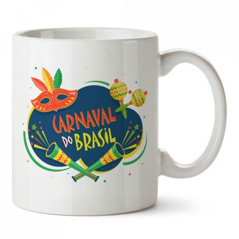 Brezilya Karnavalı tasarım baskılı kupa bardak (mug bardak). Ülke ve şehir temalı hediye çeşitleri. Brezilya desenli hediyelik kahve kupası. Turizm ve tatil hediyeleri.