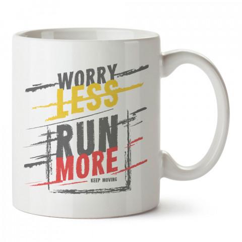 Eat More Desenli baskılı tasarım kupa bardak (mug bardak). Koşucuya hediye kupa bardak modelleri. Koşuculara hediyelik kahve kupası. Koşu sporu konulu hediye.