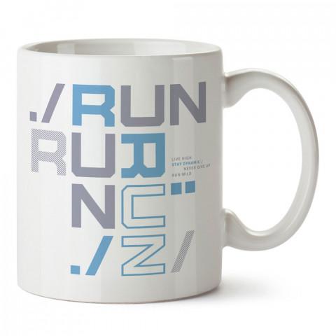 Run Run Run Desenli baskılı tasarım kupa bardak (mug bardak). Koşucuya hediye kupa bardak modelleri. Koşuculara hediyelik kahve kupası. Koşu sporu konulu hediye.