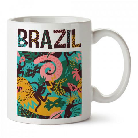 Brezilya Yazı Ve Desenli tasarım baskılı kupa bardak (mug). Ülke ve şehir temalı hediye çeşitleri. Brezilya desenli hediyelik kahve kupası. Turizm ve tatil hediyeleri.