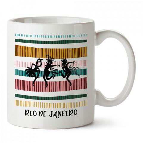 Rio De Janeiro Simgeler tasarım baskılı kupa bardak (mug). Ülke ve şehir temalı hediye çeşitleri. Brezilya desenli hediyelik kahve kupası. Turizm ve tatil hediyeleri.