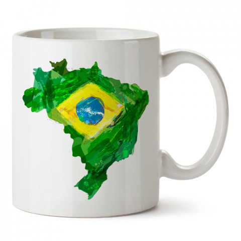 Suluboya Brezilya Haritası Ve Bayrağı tasarım kupa bardak (mug). Ülke ve şehir temalı hediye çeşitleri. Brezilya desenli hediyelik kahve kupası. Turizm ve tatil hediyesi.