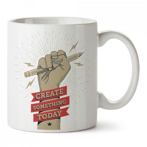 Bugün Bir Şeyler Yarat tasarım baskılı porselen kupa bardak (mug bardak). Tasarımcılara ve grafikerlere en güzel hediye. Grafikere ve tasarımcıya hediyelik kahve kupası.