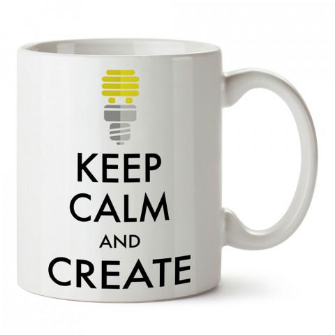 Sakin Ol Ve Yarat tasarım baskılı porselen kupa bardak (mug bardak). Tasarımcılara ve grafikerlere en güzel hediye. Grafikere ve tasarımcıya hediyelik kahve kupası.