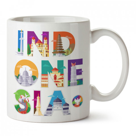 Endonezya Turizm Sembolleri tasarım baskılı porselen kupa bardak modelleri (mug). Ülke ve şehirlere özel hediye ürün. Kahve kupası. Endonezya temalı tasarım ürünler.