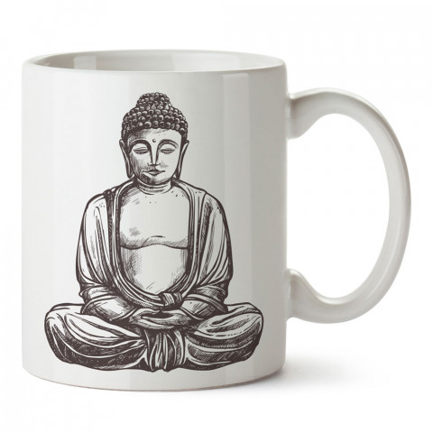 Gotama Buda Çizim tasarım baskılı porselen kupa bardak modelleri (mug bardak). Ülkelere ve şehirlere özel hediye ürünler. Kahve kupası. Hindistan temalı tasarım ürünler.
