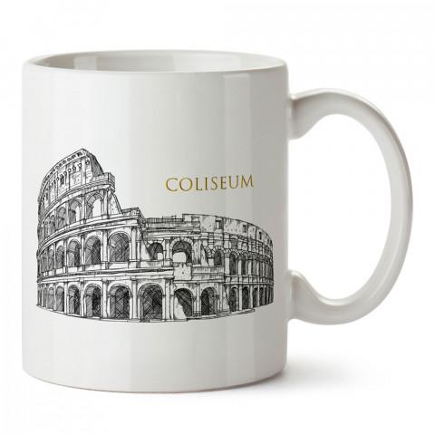 İtalya Roma Kolezyum tasarım baskılı porselen kupa bardak modelleri (mug). Ülkelere ve şehirlere özel hediye ürünler. Kahve kupası. İtalya temalı tasarım ürünler.