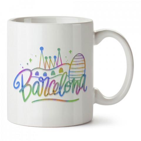 Renkli Barcelona tasarım baskılı porselen kupa bardak modelleri (mug). Ülkelere ve şehirlere özel hediye ürünler. Kahve kupası. Barcelona temalı tasarım ürünler.