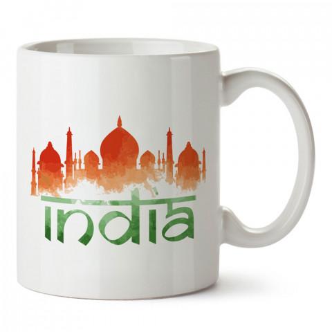 Suluboya Hindistan tasarım baskılı porselen kupa bardak modelleri (mug). Ülkelere ve şehirlere özel hediye ürünler. Kahve kupası. Hindistan temalı tasarım ürünler.