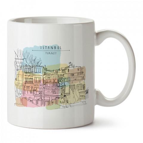 Türkiye İstanbul Mahalle Çizim tasarım baskılı porselen kupa bardak modelleri (mug). Ülke ve şehirlere özel hediye ürünler. Kahve kupası. İstanbul temalı tasarım ürünler.