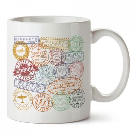 Türkiye İstanbul Posta Damgaları tasarım baskı porselen kupa bardak modelleri (mug). Ülke ve şehirlere özel hediye ürünler. Kahve kupası. İstanbul temalı tasarım ürünler.