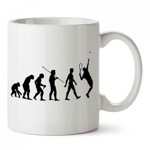 Evrim Ve Tenis tasarım baskılı kupa bardak (mug). Tenisçiye hediye fikirleri. Tenis sporu ile ilgilenenlere ve sporcuya hediye kahve kupası. Tenisçi için hediye kupa.