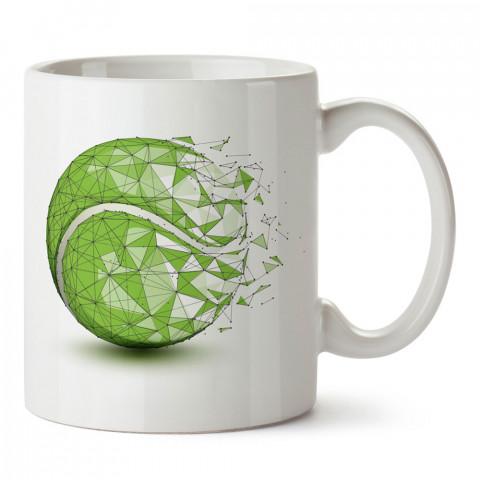 Geometrik Tenis Topu baskılı kupa bardak (mug). Tenisçiye hediye fikirleri. Tenis sporu ile ilgilenenlere ve sporcuya hediye kahve kupası. Tenisçi için hediye kupa.