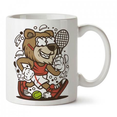 Tenisçi Aslan tasarım baskılı kupa bardak (mug). Tenisçiye hediye fikirleri. Tenis sporu ile ilgilenenlere ve sporcuya hediye kahve kupası. Tenisçi için hediye kupa.