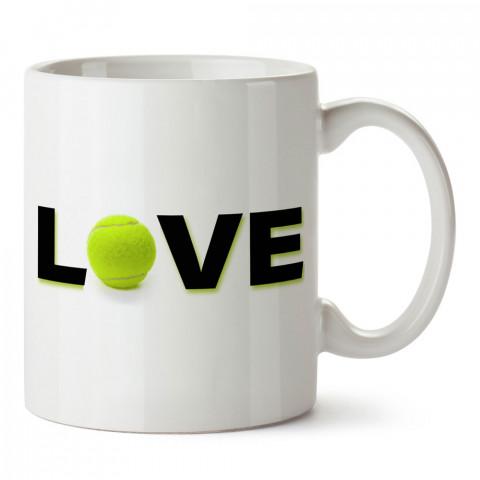 Tenis Topu Love tasarım baskılı kupa bardak (mug). Tenisçiye hediye fikirleri. Tenis sporu ile ilgilenenlere ve sporcuya hediye kahve kupası. Tenisçi için hediye kupa.