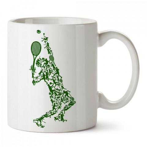 Yeşil Tenisçiler tasarım baskılı kupa bardak (mug). Tenisçiye hediye fikirleri. Tenis sporu ile ilgilenenlere ve sporcuya hediye kahve kupası. Tenisçi için hediye kupa.