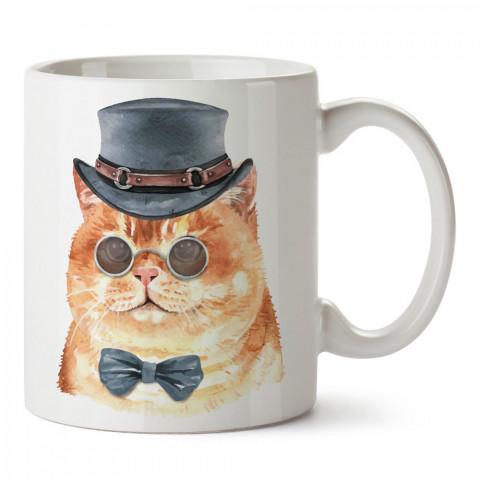 Dedektif Kedi tasarım kupa bardak (mug). Kedi severler için hediye. Kedili kupa bardak. Hayvansevere ve kedi besleyenlere hediye.