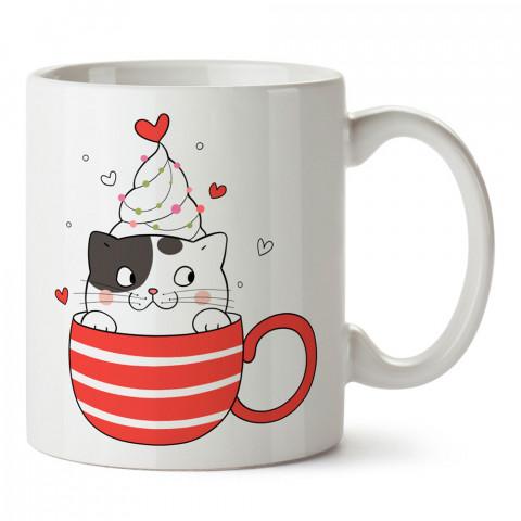 Fincanda Kedi tasarım kupa bardak (mug). Kedi severler için hediye. Kedili kupa bardak. Hayvansevere ve kedi besleyenlere hediye.