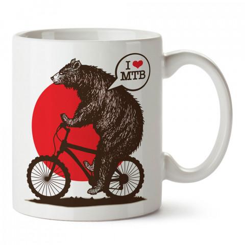 Dağ Bisikletli tasarım baskılı porselen kupa bardak (mug). Bisikletçiler için en güzel hediye. Bisikletçilere hediye kahve kupası. Bisikletçiye alınabilecek hediyeler.