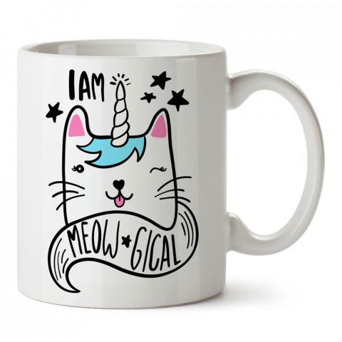 I Am Meowgical tasarım kupa bardak (mug). Kedi severler için hediye. Kedili kupa bardak. Hayvansevere ve kedi besleyenlere hediye.