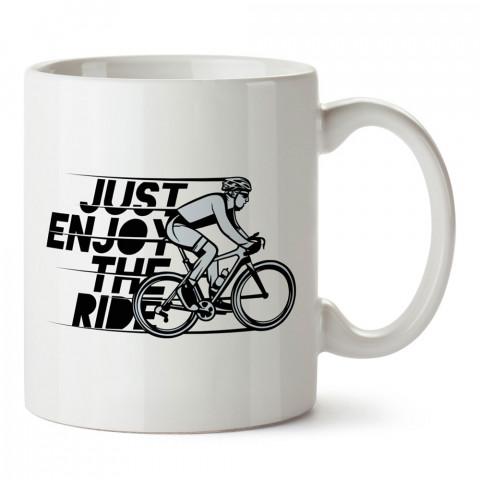 Enjoy The Ride tasarım baskılı porselen kupa bardak (mug). Bisikletçiler için en güzel hediye. Bisikletçilere hediye kahve kupası. Bisikletçiye alınabilecek hediyeler.