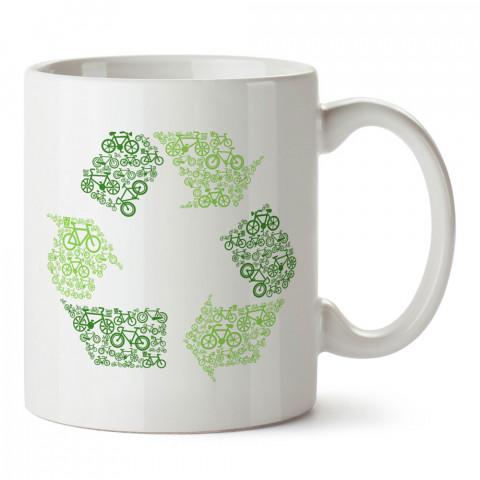 Recycle Bicycle Bisiklet  tasarım baskılı porselen kupa bardak (mug). Bisikletçiler için en güzel hediye. Bisikletçilere hediye kahve kupası. Bisikletçiye alınabilecek hediyeler.