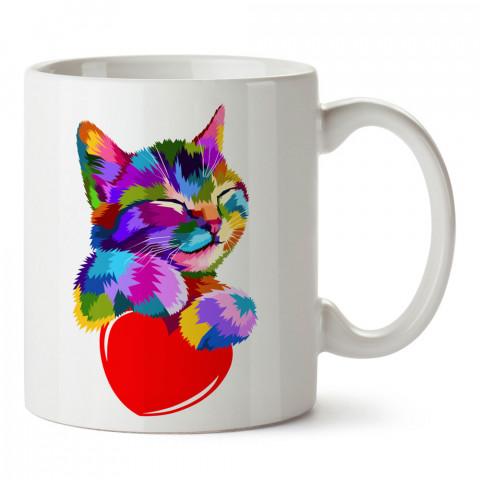 Kalpli Renkli Kedi tasarım kupa bardak (mug). Kedi severler için hediye. Kedili kupa bardak. Hayvansevere ve kedi besleyenlere hediye.