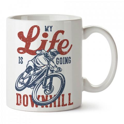 Yokuş Aşağı Bisikletçi baskılı porselen kupa bardak (mug). Bisikletçiler için en güzel hediye. Bisikletçilere hediye kahve kupası. Bisikletçiye alınabilecek hediyeler.