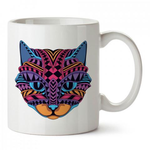 Mandala Kedi tasarım kupa bardak (mug). Kedi severler için hediye. Kedili kupa bardak. Hayvansevere ve kedi besleyenlere hediye.