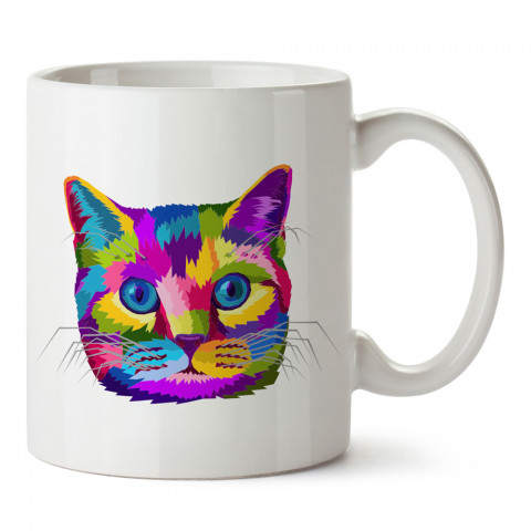 Rengarenk Kedi tasarım kupa bardak (mug). Kedi severler için hediye. Kedili kupa bardak. Hayvansevere ve kedi besleyenlere hediye.