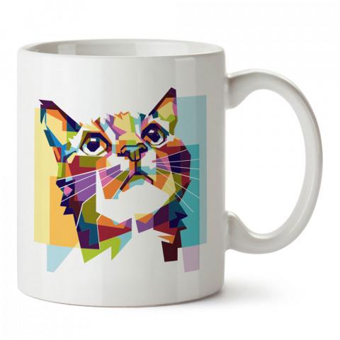 Renkli Kristalize Kedi tasarım kupa bardak (mug). Kedi severler için hediye. Kedili kupa bardak. Hayvansevere ve kedi besleyenlere hediye.
