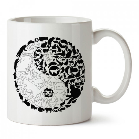 Yin Yang Kediler tasarım kupa bardak (mug). Kedi severler için hediye. Kedili kupa bardak. Hayvansevere ve kedi besleyenlere hediye.