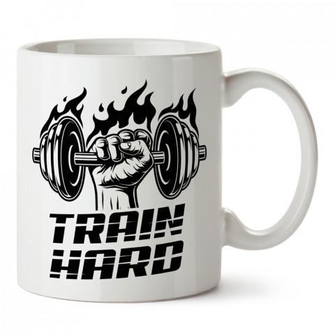 Sıkı Çalış Spor tasarım baskılı porselen kupa bardak (mug bardak). Bodyci ve vücut geliştirici için hediye. Fitness hediye kupa bardak. Vücut geliştirme hediye.