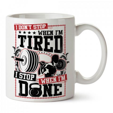 Yorulunca Durmam Spor tasarım baskılı porselen kupa bardak (mug bardak). Bodyci ve vücut geliştirici için hediye. Fitness hediye kupa bardak. Vücut geliştirme hediye.