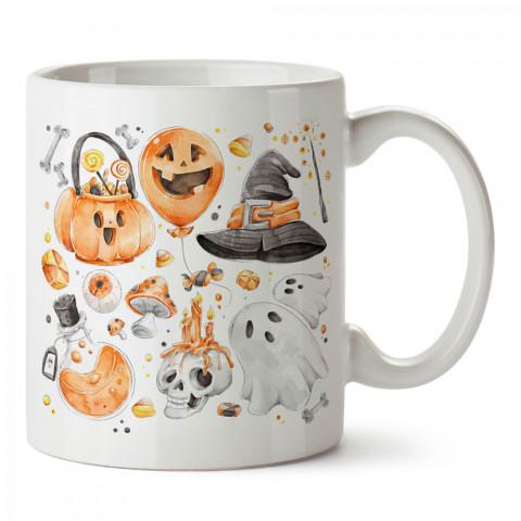 Cadılar Bayramı Simgeleri tasarım baskılı halloween kupa bardak (mug bardak). Cadılar Bayramına özel hediyeler. Cadılar bayramı hediyesi. Halloween hediyesi.