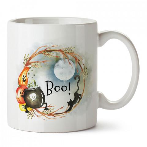 Dolunay Ve Boo Kedi Cadılar Bayramı tasarım baskılı halloween kupa bardak (mug bardak). Cadılar Bayramına özel hediyeler. Cadılar bayramı hediyesi. Halloween hediyesi.