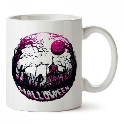 Halloween Mezarlık tasarım baskılı halloween kupa bardak (mug bardak). Cadılar Bayramına özel hediyeler. Cadılar bayramı hediyesi. Halloween hediyesi.