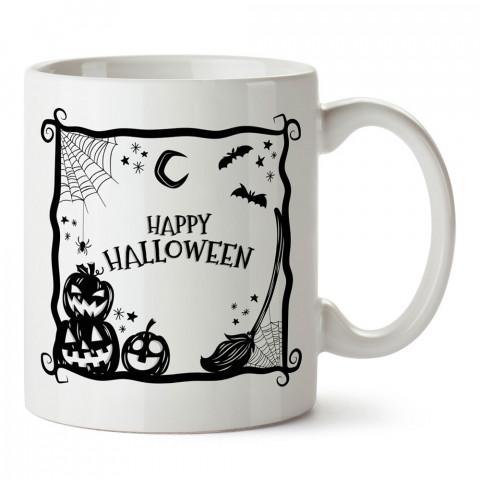 Happy Halloween Cadılar Bayramı Simgeleri tasarım baskılı halloween kupa bardak (mug). Cadılar Bayramına özel hediyeler. Cadılar bayramı hediyesi. Halloween hediyesi.