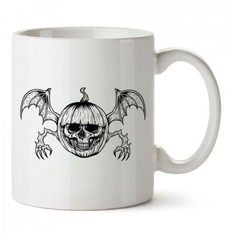 Kuru Kafa Yarasa Bal Kabağı tasarım baskılı halloween kupa bardak (mug bardak). Cadılar Bayramına özel hediyeler. Cadılar bayramı hediyesi. Halloween hediyesi.
