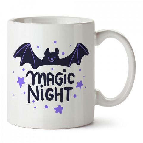Sihirli Gece Yarasa tasarım baskılı halloween kupa bardak (mug bardak). Cadılar Bayramına özel hediyeler. Cadılar bayramı hediyesi. Halloween hediyesi.