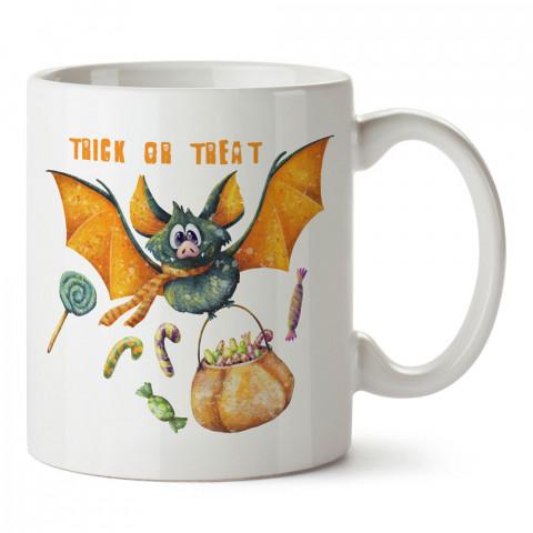 Şeker Ya Da Oyun Yarasa tasarım baskılı halloween kupa bardak (mug bardak). Cadılar Bayramına özel hediyeler. Cadılar bayramı hediyesi. Halloween hediyesi.