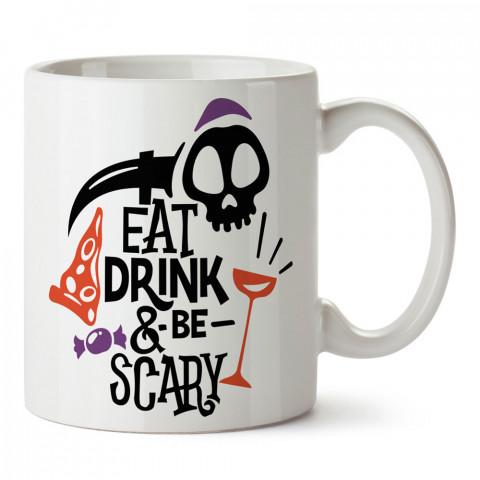 Ye İç Korkutucu Ol tasarım baskılı halloween kupa bardak (mug bardak). Cadılar Bayramına özel hediyeler. Cadılar bayramı hediyesi. Halloween hediyesi.