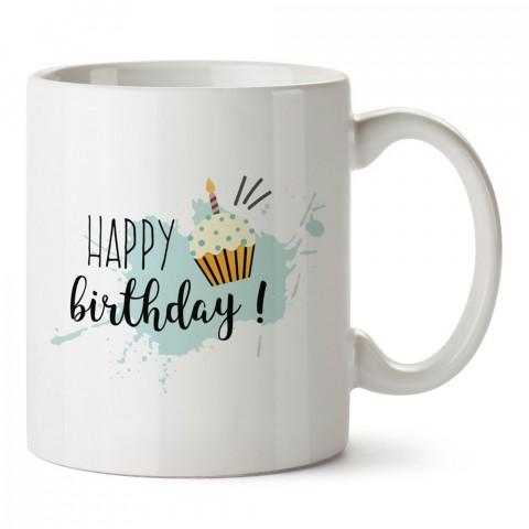 Happy Birthday Cupcake tasarım baskılı hediye kupa bardak (mug). Doğum günlerine özel hediyeler. Doğum günü hediye fikirleri burada. Doğum gününde ne hediye alınır?