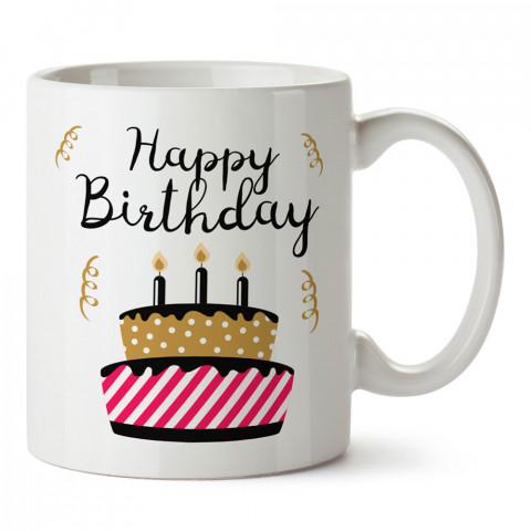 Mumlu Doğum Günü Pastası tasarım baskılı hediye kupa bardak (mug). Doğum günlerine özel hediyeler. Doğum günü hediye fikirleri burada. Doğum gününde ne hediye alınır?