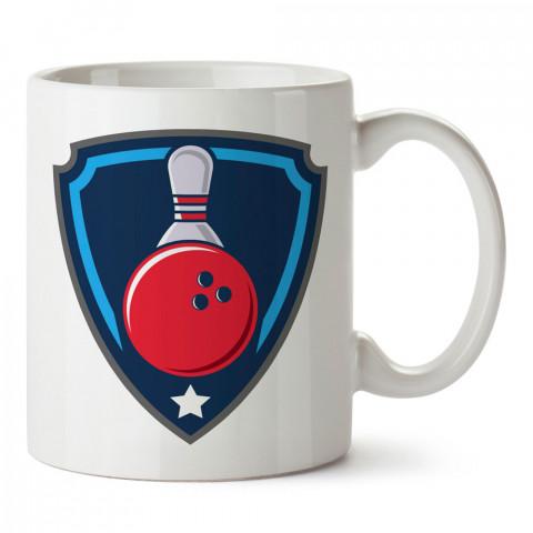 Bowling Rozet tasarım baskılı kupa bardak (mug bardak). Bowling tutkunlarına özel hediyeler. Bowling sevenlere hediye. Bowlingciye hediye kupa bardak.