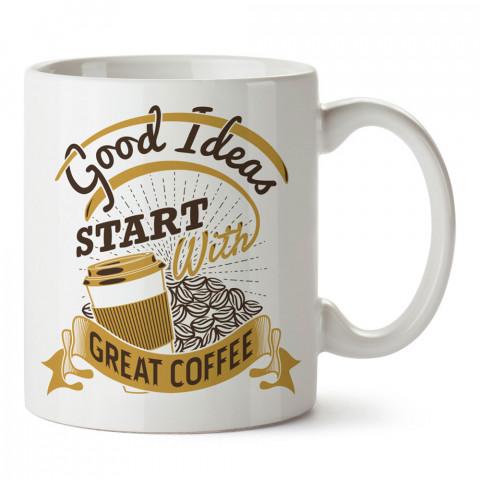 İlham Kahvesi tasarım baskılı kupa bardak (mug bardak). Kahve bağımlılarına özel hediyeler. Kahve bağımlısına hediye. Kahve tasarım hediye kupa bardak.