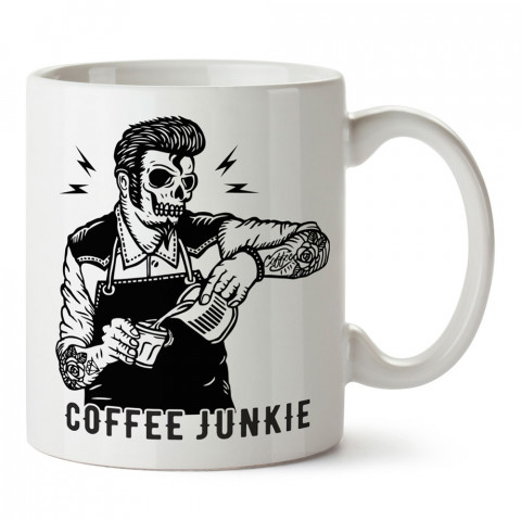 Kahve Bağımlısı Elvis tasarım baskılı kupa bardak (mug bardak). Kahve bağımlılarına özel hediyeler. Kahve bağımlısına hediye. Kahve tasarım hediye kupa bardak.