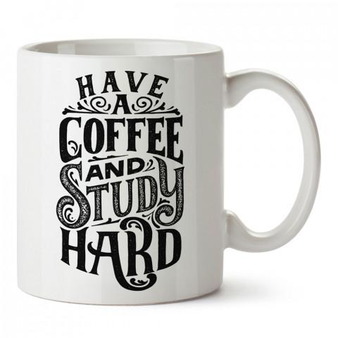 Kahve İç Çok Çalış tasarım baskılı kupa bardak (mug bardak). Kahve bağımlılarına özel hediyeler. Kahve bağımlısına hediye. Kahve tasarım hediye kupa bardak.